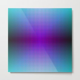 Ombre Purple Green Blue and Black Hexagon pixel grid Metal Print