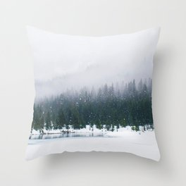Evergreen Winter Forest (Color) Throw Pillow