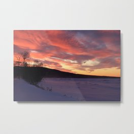 Wintry Sunset over the Porkies Metal Print