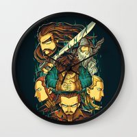 the hobbit Wall Clocks featuring The Hobbit by anggatantama