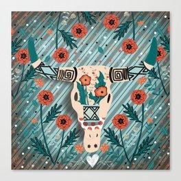 Folk Art Skull and Poppies Canvas Print