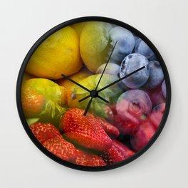 Lemons, Blueberries, & Strawberries Collage Wall Clock