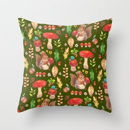 Red mushrooms and friends - GBG Throw Pillow