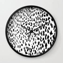Cheetah II Black & White Animal Print Wall Clock