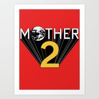 earthbound Art Prints featuring Mother 2 / Earthbound Promo by Studio Momo╰༼ ಠ益ಠ ༽