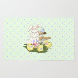 White Rabbit and Easter Friends Rug