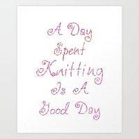 Knitting Art Print Art Print