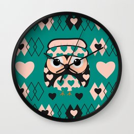 Owl and heart pattern Wall Clock