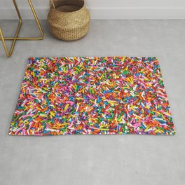 Rainbow Sprinkles Sweet Candy Colorful Rug