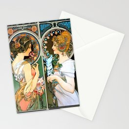 """Alphonse Mucha """"Primrose and Feather"""" Stationery Cards"""