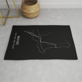Maine State Road Map Rug