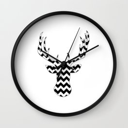 Zig Zag Modern Deer Head Wall Clock