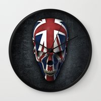 british flag Wall Clocks featuring British horror by GrandeDuc