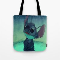 stitch Tote Bags featuring Stitch by Princess Goldilocks