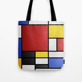 Mondrian in a Leather-Style Tote Bag