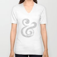 ampersand V-neck T-shirts featuring Ampersand by Artworks by PabloZarate Inc.