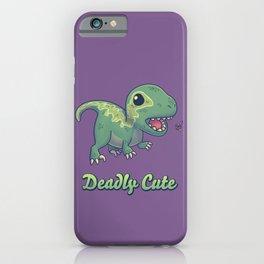 Deadly Cute Raptor // Kawaii Dinosaur, Paleontology, Animals iPhone Case