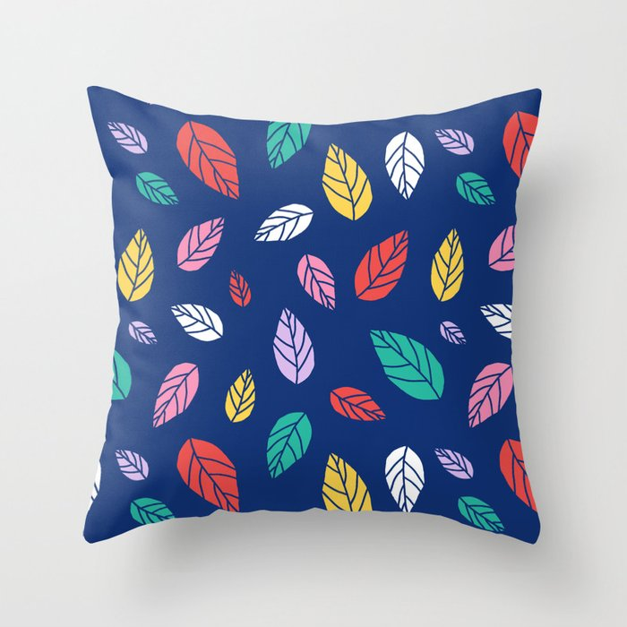 Scandinavian Leaves in Mod Blue Throw Pillow