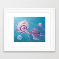 sea turtle Framed Art Prints featuring Sea Turtle by John Schwegel