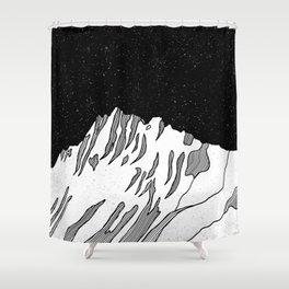 Puncak Jaya Mountain Black and White Shower Curtain