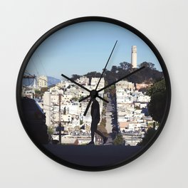 Silhouette from Near Lombard Looking Toward Coit Tower, San Francisco Wall Clock