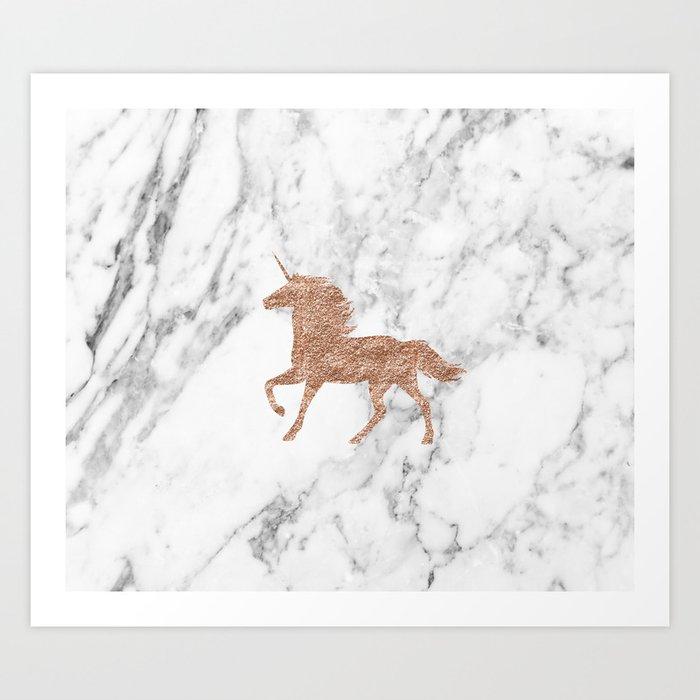 Rose Gold Unicorn On Marble Art Print By Peggieprints