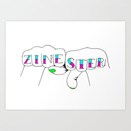 zinester knuckles (in colour) Art Print