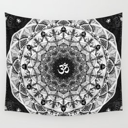 BLACK AND WHITE OM MANDALA Wall Tapestry