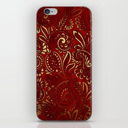 Red Burgundy Deep Gold Paisley Floral Pattern Print iPhone Skin