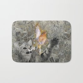 Red in tooth and claw - cat and bird Bath Mat