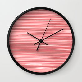 Coral Pink & White Lines  Wall Clock