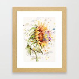 Hand In Hand (Butterfly & Sunflower) Framed Art Print
