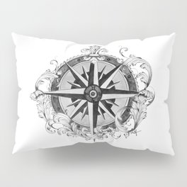Black and White Scrolling Compass Rose Pillow Sham