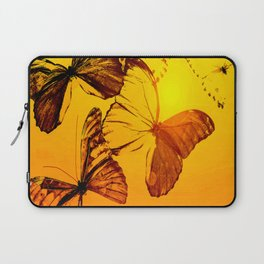 Fly fly butterfly! - Butterflies on a orange background with sunlight #society6 #buyart Laptop Sleeve
