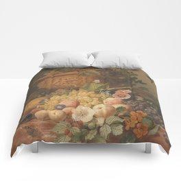 Still Life with Flowers and Fruit, Eelke Jelles Eelkema (1824) Comforters