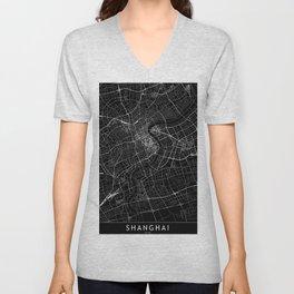 Shanghai Black Map Unisex V-Neck