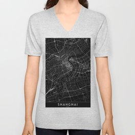 Shanghai Black Map Unisex V-Neck