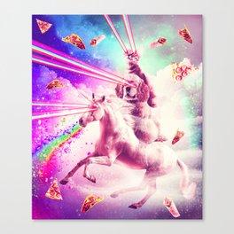 Laser Eyes Space Cat Riding Dog, Unicorn - Rainbow Canvas Print