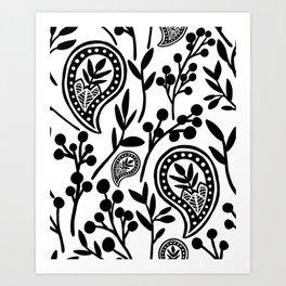 Black & White Floral Paisley V.01 Art Print
