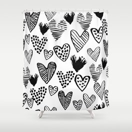 Hearts black and white hand drawn minimal love valentines day pattern gifts decor Shower Curtain