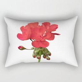 isolated red geranium in bloom Rectangular Pillow