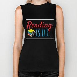 Reading Gift Reading Is Lit ELA Literacy Teacher Student Books Biker Tank