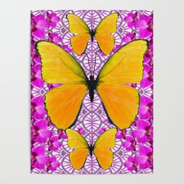 FUCHSIA COLORED  ORCHIDS &  YELLOW  BUTTERFLY FLORAL Poster