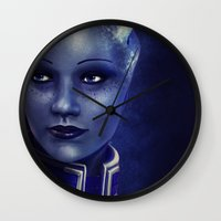 garrus Wall Clocks featuring Mass Effect: Liara T'soni by Ruthie Hammerschlag