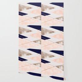 Rose gold french navy geometric Wallpaper