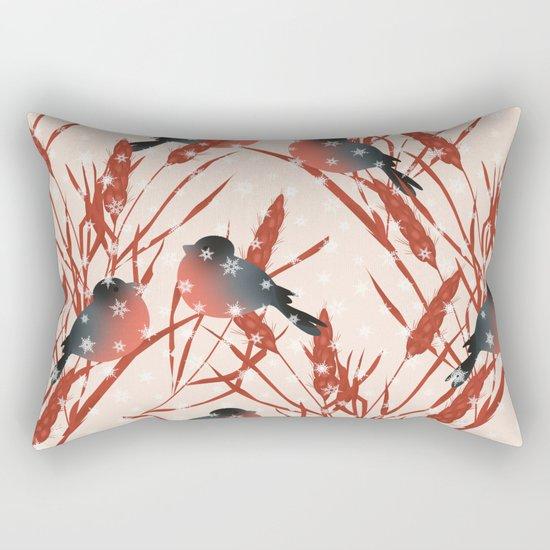 Winter pattern with bullfinches. Rectangular Pillow