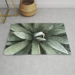 Cactus Decor // Dusty Blue Green Succulent Leaves Desert Square Photograph Rug
