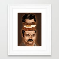 ron swanson Framed Art Prints featuring Ron Swanson by Dave Collinson