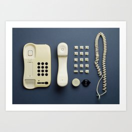 Parts of vintage home telephone Art Print