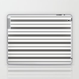 Pantone Pewter Gray and White Stripes, Wide and Narrow Horizontal Line Pattern Laptop & iPad Skin